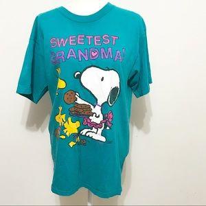 Vtg 90s Tultex Snoopy & Woodstock Blue Shirt